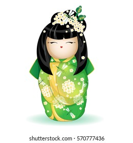 Japan National kokeshi doll in a green kimono with a pattern of white flowers and dragonflies. Vector illustration on white background. A character in a cartoon style. Isolate