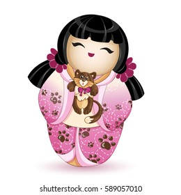 Japan National kokeshi doll in in a pink kimono with a pattern of brown cat paws. In her hands she holds a small kitten. Vector illustration. A character in a cartoon style. Isolated.