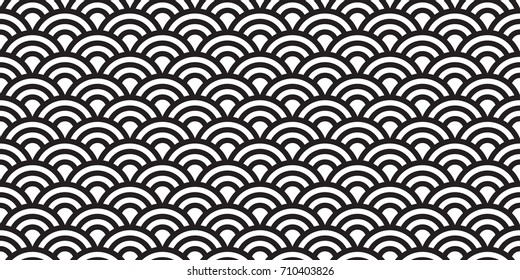 japan ocean wave water abstract seamless pattern wallpaper background vector