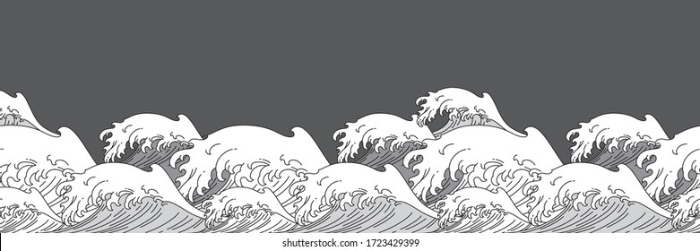 Japan ocean wave water seamless background vector illustration. Oriental asian style single line art design.