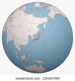 Japan on the globe. Earth hemisphere centered at the location of Japan. Japan map.