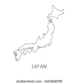 Japan one line drawing on white isolated background. Abstract outline of the country, geographical map. Vector illustration