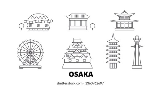 Japan, Osaka line travel skyline set. Japan, Osaka outline city vector illustration, symbol, travel sights, landmarks.