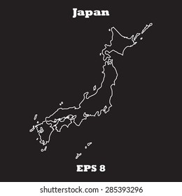 Japan outline map, stroke. Name of country. Line style. Vector EPS8