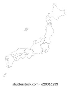 Japan outline silhouette map illustration with regions