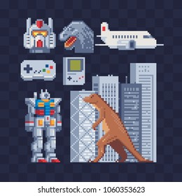 Japan pixel art icons set part 4, gamepad, dinosaur and robot character japanese technologies, isolated vector illustration. Design for sticker logo and mobile app. Game asset 8-bit sprite.