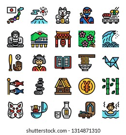 japan pixel perfect color line icons, vector editable stroke