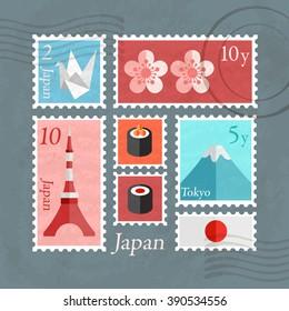 Japan Postage Stamps Template : Vector Illustration