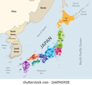 Japan prefectures (japanese names gives in parentheses) vector map colored be regions with neighbouring countries and territories