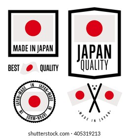 Japan quality label. Export certificate stamp, seal, badge, tag. Retail production sign bundle. Made in Japan label isolated set on white background. Warranty quality emblem vector illustration