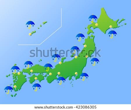 Japan Rain Weather Forecast Vector Illustration Stock Vector
