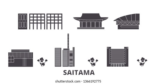 Japan, Saitama flat travel skyline set. Japan, Saitama black city vector illustration, symbol, travel sights, landmarks.
