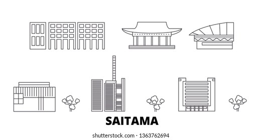 Japan, Saitama line travel skyline set. Japan, Saitama outline city vector illustration, symbol, travel sights, landmarks.