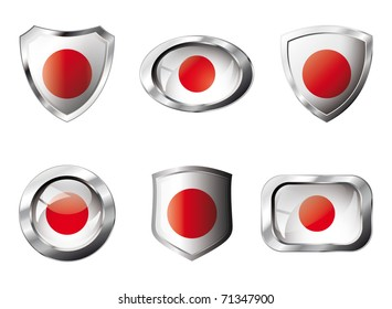 Japan set shiny buttons and shields of flag with metal frame - vector illustration. Isolated abstract object against white background.