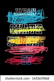 japan skate street mode,t-shirt design vector illustration