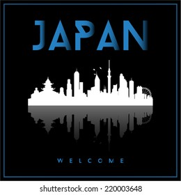 Japan, skyline silhouette vector design on parliament blue and black background.