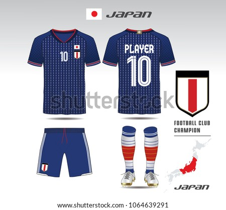 f234f425955 Japan soccer jersey or team apparel template. Mock up Football uniform for football  club.