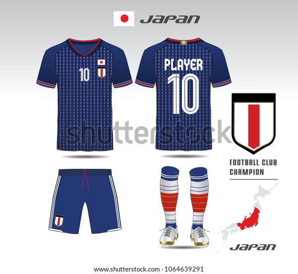 Japan Soccer Jersey Team Apparel Template Stock Vector (Royalty Free