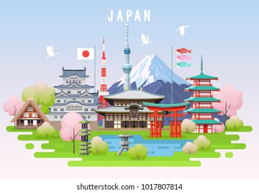 Japan spring travel infographic. Vector travel places and landmarks.
