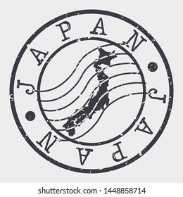 Japan Stamp Postal. Map Silhouette Seal. Passport Round Design. Vector Icon. Design Retro Travel.