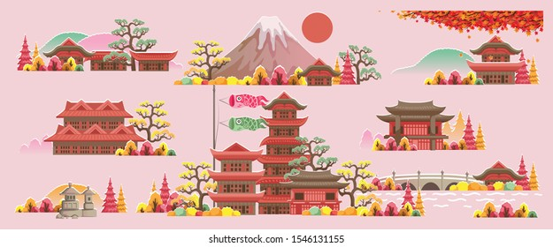 Japan style building. Beautiful houses and temples in Japan style. Panorama of the building. Autumn scenery. The scenery of japan during the fall season. Posters and postcards japanese for tourism.
