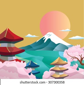 Japan style buildings and fuji mountain.