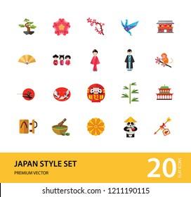 Japan Style Icon Set. Japanese Umbrella Bamboo Daruma Doll Japanese Flower Japanese Cranes Kokeshi Dolls Sakura Branch Woman In Kimono Japanese Man Geta Origami Crane Matcha Tea Chrysanthemum Ornament