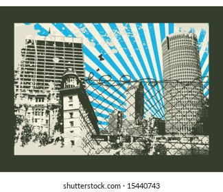 Japan sun retro city vector Illustration