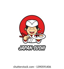 Japan sushi logo with japanese chef mascot character wear traditional white chef clothes bring sush on plate and chopstick in cartoon style