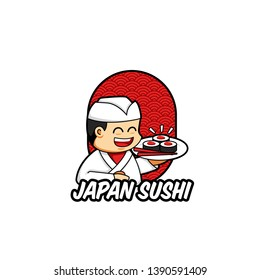 Japan sushi logo mascot with traditional japanese chef character bring sushi on a plate, unique and cute cartoon logo with traditional asia background pattern
