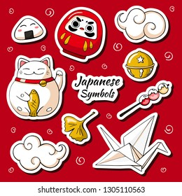 Japan symbols sticker set. Traditional japan talisman in doodle style. Kawaii Cartoon characters: lucky cat Maneki-Neko, Daruma Lucky Japanese Doll, cloud and onigiri.