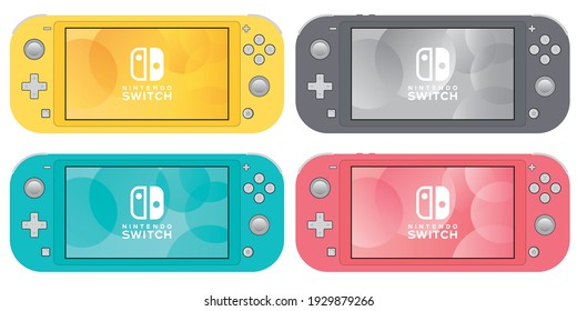 Japan, Tokyo - 5 March 2021 - The mockup of Nintendo Switch Lite presented in blue, red, grey and yellow colors. Nintendo Switch all colors mockup vector.