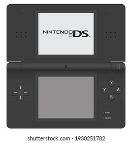 Japan, Tokyo - 6 March 2021 - The mockup of Nintendo DS Lite in grey color unfolded. Nintendo DS lite grey mockup vector, Nintendo DS old gaming console