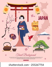 Japan travel background with symbols for your design. Vector illustration.