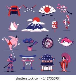 Japan travel cartoon set of elements of national cuisine culture tradition and landmarks  flat vector illustration