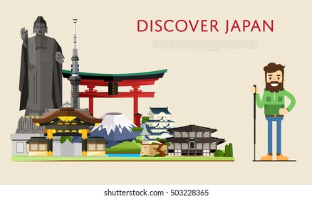 Japan travel concept with Japan landmarks vector. Adventure in Japan. Japan tradition.