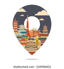 Japan travel. Japan detailed skyline. Travel and tourism background. Vector illustraion
