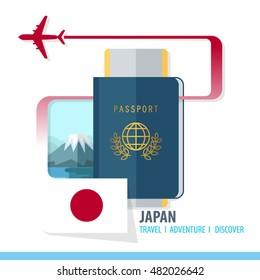 Japan  Travel, Discover, Adventure - Most Famous Landmark in country - airplane logo - Country Flag - Passport and Boarding pass - in flat style.