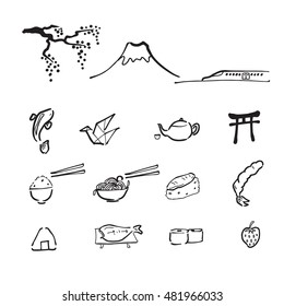 Japan travel drawing doodle icons