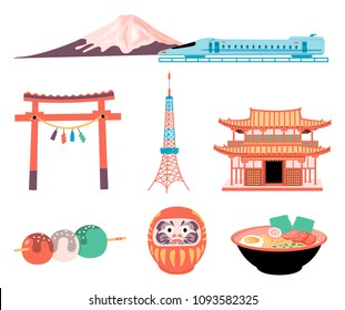 Japan travel elements set with Fuji mountain and Shinkansen train, tokyo tower, temple, dango dessert, daruma doll, and ramen, all in colorful flat style, isolated on white background