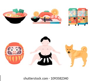 Japan travel elements set with japanese ramen noodle, sushi, Gashapon,Daruma doll, Sumo, and Shiba dog, all in colorful flat style, isolated on white background, illustration, vector