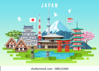 Japan travel infographic. Vector travel places and landmarks.