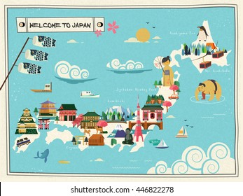 Japan travel map design with attractions and cultural symbol