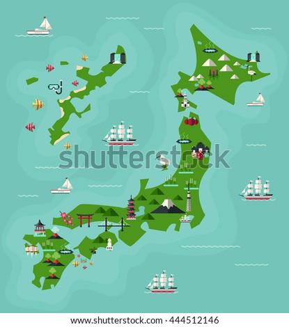 Japan Travel Map Famous Landmarks Flat Stock Vector (Royalty Free ...