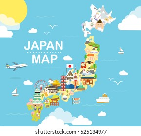 Japan travel map in flat illustration.