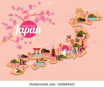 Japan travel map.  Sakura Season in Japanese. flat design elements. vector illustration
