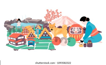 Japan travel with Onsen, fuji mountain, cherry blossom, tea ceremony, Shiba dog, Daruma doll, Dango dessert, and Shirakawa-go village all in colorful flat style, white background banner, illustratio