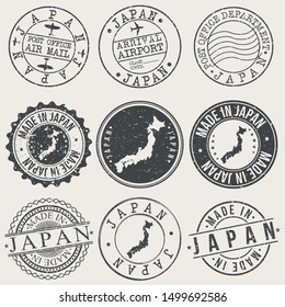 Japan Travel Stamp Made In Product Stamp Logo Icon Symbol Design Insignia.