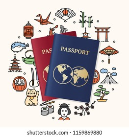 Japan Travel and Tourism Concept Card with Realistic Detailed 3d Passport and Thin Line Icons. Vector illustration of Japanese Symbols