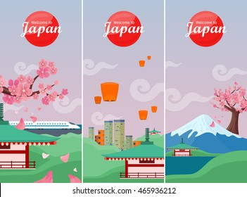 Japan travelling banners set. Landscape with traditional Japanese landmarks. Skyscrapers and private buildings. Sky lanterns. Nature and architecture. Part of series of travelling around world. Vector